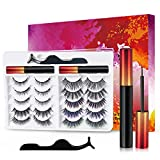 Magnetic Eyelashes with Eyeliner, Upgraded 3D Reusable Magnetic Eyelashes with 2 Tubes Waterproof Magnetic Eyeliner, Magnetic Lashes Natural Look, BEITONY Magnetic Eyelash Easy to Use [10 Pairs]