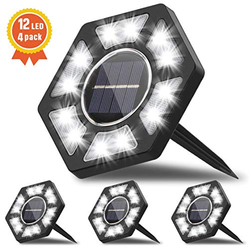 Fenvella Luci Giardino 12 LEDs, Luci Solari per Giardino IP67 Impermeabile, Faretti Sepolta per Prato Scala Paesaggio Strade, Bianco (4 Pezzi) [Efficienza Energetica A+++]
