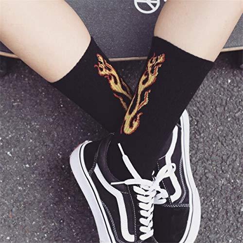 Heliansheng Moda patrón de Llama Calcetines de Hip Hop Jacquard Street Calcetines de Skate Calcetines Deportivos de algodón -5-Talla única