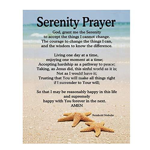 SERENITY PRAYER on Beach- 8 x 10-Art Poster Print- Scripture Wall Art- Tranquil Photo Design-Ready to Frame. Home- Church- Office D