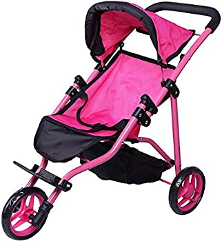 Precious Toys Jogger Hot Pink Doll Stroller Black Foam Handles and Hot Pink Frame - 0129A