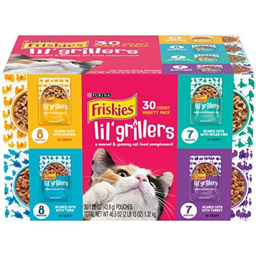 Purina Friskies Gravy Wet Cat Food Complement Variety Pack, Lil' Grillers Chicken, Turkey, Ocean Fish & Tuna - (30) 1.55 oz. Pouches