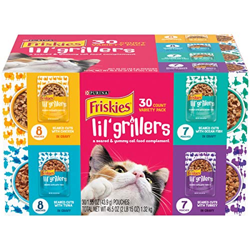 Purina Friskies Gravy Wet Cat Food Complement Variety Pack, Lil' Grillers Chicken, Turkey, Ocean Fish & Tuna - (30) 1.55 oz. Pouches