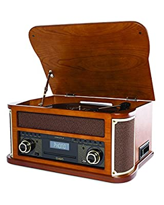 ION Audio Complete LP Retro 7-in-1 Entertainment Centre Turntable with Built-in Speakers