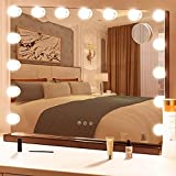 YOUDENOVA Vanity Mirror with Lights, Hollywood Mirror with 15 Dimmable LED Bulbs and Charge Ports, Tabletop or Wall Mounted Vanity Makeup Mirror for Bedroom 22.8 x 17.9 Inches,Black