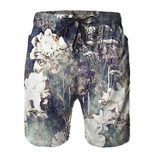 Hombres Verano Secado rápido Pantalones Cortos Playa Arte Vintage Acuarela Monocromo Floral Transparente Trajes de baño Correr Surf Deportes-3XL