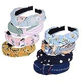 8pcs Diademas de Pelo Anchas Diadema de Nudo Bandas de Pelo para la Cabeza Turbantes para Mujer Diadema Para Mujer Chica Niña Accesorio de Pelo 8 Colores Variados (Kit de Flores)