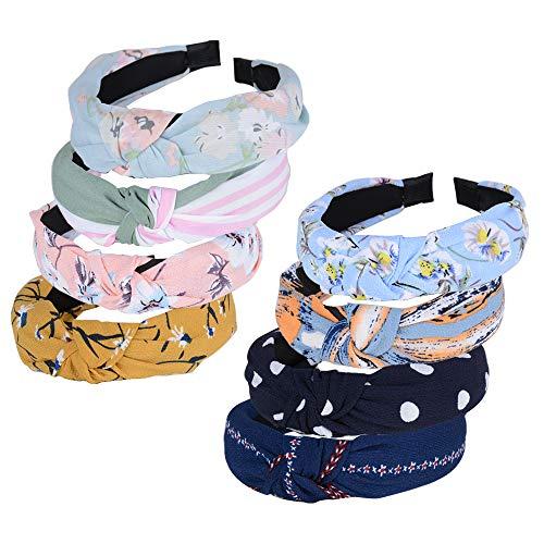 8pz Cerchietti per Capelli Donna Fasce Femminili Vintage Fascia Fermacapelli Turbante della Testa Accessori dei Capelli per Donna Ragazza 8 Colori Assortiti Fiori
