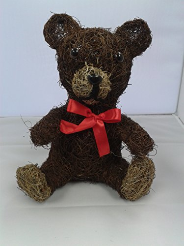 forestfox Decorative Coco Husk Teddy Bear with Ribbon Bow. Garden Ornament. Natural. New.