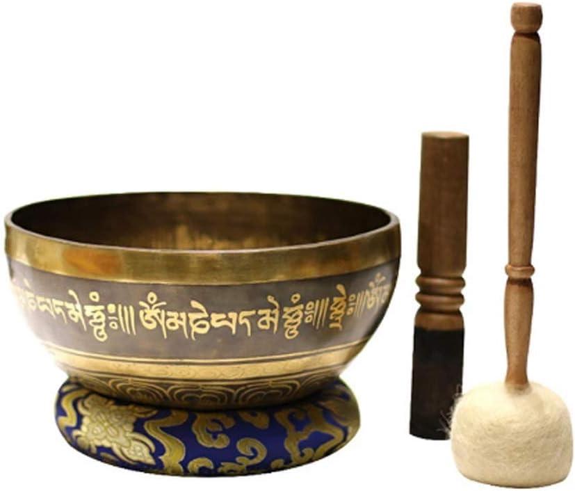 DLVKHKL Cuenco Tibetano de Meditación Budista Yoga Cuenco Feng Shui Hecha a Mano la decoración del hogar (Size : 22cm)