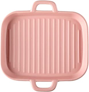 Grill Pans For Square Baking Oven, Household Ceramic Baking Tray, 8-inch Double-ear Striped Baking Tray (Color : Pink)