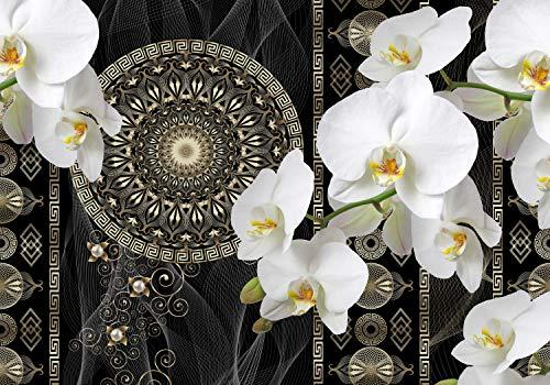 wandmotiv24 Fototapete Blüten Blumen Orchideen Mandala Wellness XS 150 x 105cm - 3 Teile Fototapeten, Wandbild, Motivtapeten, Vlies-Tapeten Abstrakt Muster M6114