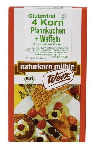 Werz 4-Korn-Vollkorn-Pfannkuchen/Waffeln glutenfrei 4er Pack (4 x 250 g Packung) - Bio