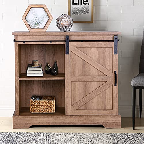 MAISON ARTS Sideboard Storage Cabinet with Sliding Door Modern Farmhouse Kitchen Buffet Coffee Bar Cabinet Cupboard TV Stand Console Table for TVs up to 34' for Kitchen Dining Living Room, Brown Oak