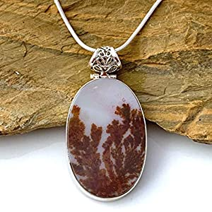 Dendritic Oval Pendant 925 Sterling Silver Snake Chain Necklace