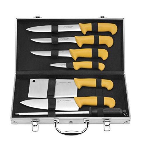 LA CUISINE D'ALBERT 001000 Lot de 8 Mallettes du Chef, Acier Inoxydable, Jaune, 40 cm