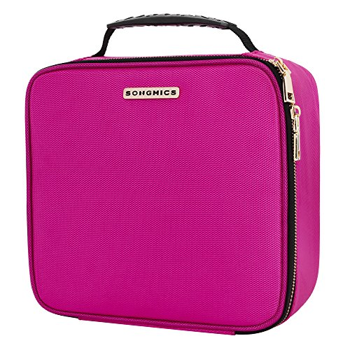 SONGMICS 10.6 Inch Cosmetic Bags travel Makeup Train Case with Adjustable Dividers cosmetic cases with Hard Shell Exterior Storage Organizer Rose UMUC23PK