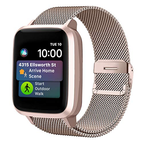 Funbiz Metal Correa Compatible con Apple Watch 38mm 40mm 42mm 44mm, Pulsera de Repuesto de Acero Inoxidable para iWatch Series SE 6 5 4 3 2 1, 38mm/40mm-Champán