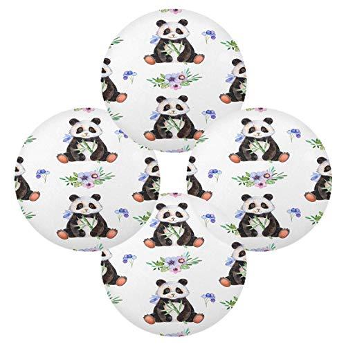 Juego de 4 manteles individuales redondos con diseño de oso panda y flores, antideslizantes, resistentes al calor, lavables, para mesa de comedor, cocina, decoración del hogar