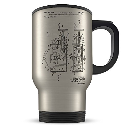 Carpenter Travel Mug for Men and Women - Carpenter Coffee Cup for Student Apprentice or Profession - Best Carpentry Gift Idea - Cool Table Saw Patent Cup