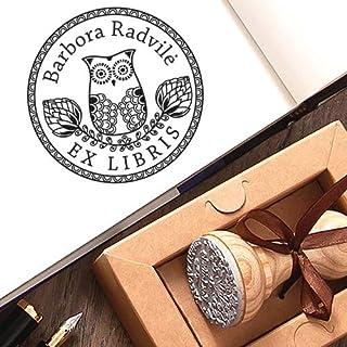 Sellos Personalizados, Ex libris Búho Sello de Goma Personalizable Madera, Sello Personalizado Libro Pájaro Sabiduría, Caj...