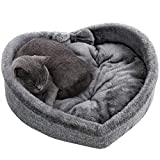 Cat Bed - Heart Pet Bed for Cats or Small Dogs, Ultra Soft Short Plush, Anti-Slip Bottom, Washable High Resilience PP Cotton, Comfortable Self Warming Autumn Winter Indoor Sleeping Cozy Kitty Teddy