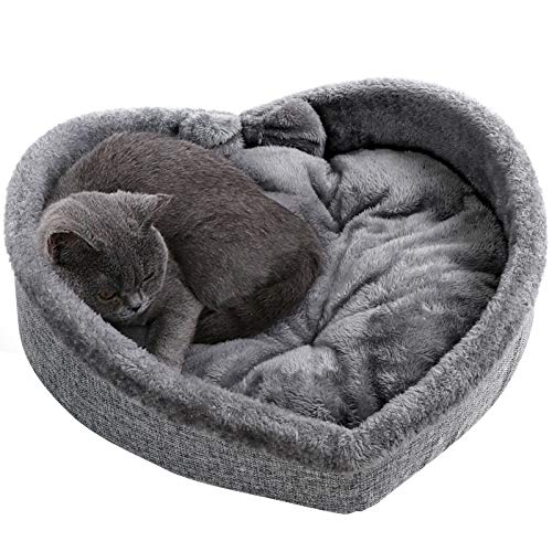 Cat Bed - Heart Pet Bed for Cats or Small Dogs, Ultra Soft Short Plush, Anti-Slip Bottom, Washable...