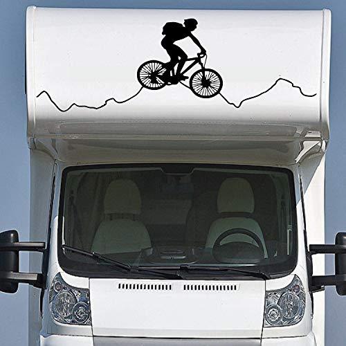Pegatina Promotion Mountainbiker Typ1 ca 180cm Fahrrad Bike Rad Radfahren Uphill Downhill Wohnmobil Wohnwagen Aufkleber Womi Wowa