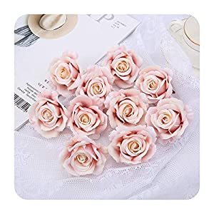 PrettyR Romantic Valentine's Day Artificial Silk Roses Flower Heads for Wedding Arch Bridal Floral Decorations DIY Home Decor Flowers-Lotus Color rose-1pc