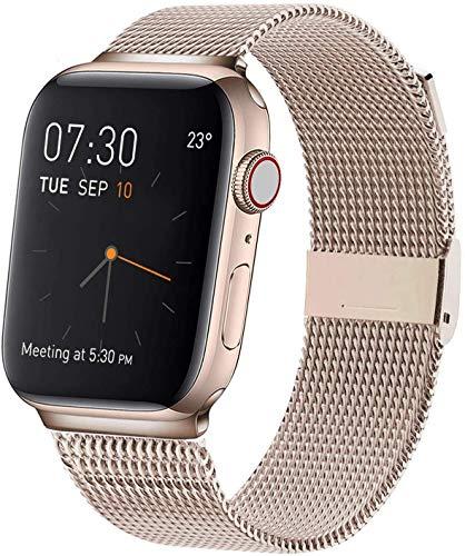 Compatible con Apple Watch Band, Anillo De Metal De Malla De Acero Inoxidable, Cierre Magnético Ajustable Compatible con Iwatch Series 5 4 3 2 1 (38/40mm,Gold)