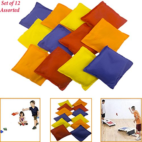 Adorox Set of 12 Assorted 5' Nylon Bean Bags Cornhole Primary Colors Carnival Game