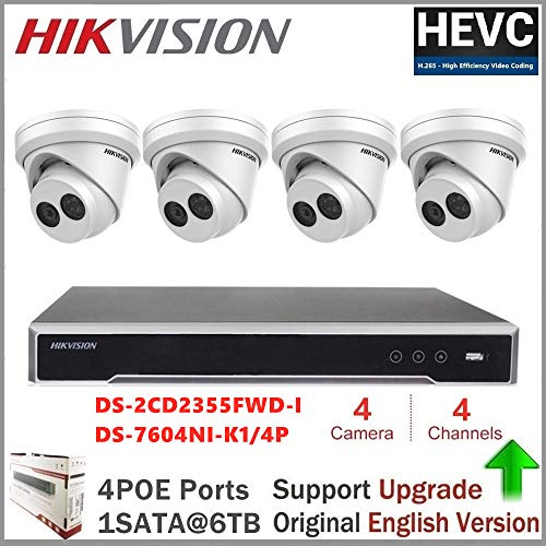 Hikvision IP-camerasysteem, embedded plug & play, 4K NVR opname met 8 megapixeln resolutie + hikvision 5 MP Dome IP-camera DS-2CD2355FWD-I 5MP netwerk Turret Camera + Seagate HDD