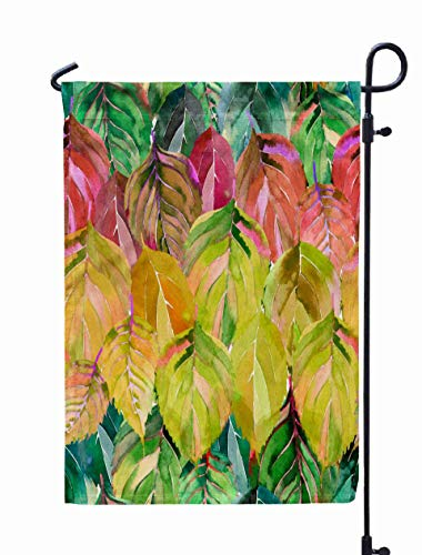 UIJDIAm Welcome Garden Flag Home Yard Decorative 12X18 Inches Lovely Group The Autumn Leaves Like Rainbow Graphic Bright Floral Herbal Orange Yellow Double Sided Seasonal Garden Flags,Peach Gray