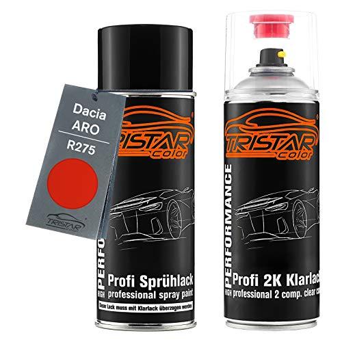 TRISTARcolor Autolack 2K Spraydosen Set für ARO/Dacia R275 Rot Basislack 2 Komponenten Klarlack Sprühdose