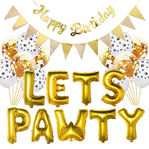 Dreamcolor Dog Happy Birthday Decorations Lets Pawty Balloon Dog Cat Party Banner (Gold)