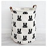 G4 TECH® Klappbare Ramie-Baumwoll-Stoff für Tasche Kinder Spielzeug Lagerung Wäschekorb (A)