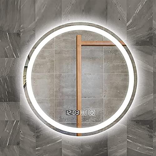Espejo Baño LED Redondo Espejo de Baño Antivaho Modos de Luces Ajustables Interruptor Táctil Espejo Moderno de Pared Bordes pulidos, para Tocador Dormitorio (Color : Led+Anti-Fog+Time, Size : 70cm)