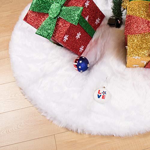 Falda para árbol de Navidad B/S Burning Secret, BS de 48 pulgadas, grande, color blanco, lujosa, suave, de piel sintética, faldas de árbol de Navidad, adornos blancos para...