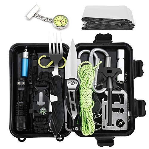 Swetup Survival Kit, 20in1 Multifunktional Militär Survival Kit Professionelle Outdoor Kit mit Klappmesser Minitaschenlampe Paracord Tactical Pen Rettungsdecken für Camping Bushcraft Wandern Jagden
