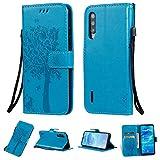 Zchen Xiaomi Mi A3 Hülle, Kunstleder Portemonnaie Handy-Schutzhülle Book Flip Design Klapphülle Etui Tasche für Xiaomi Mi A3 (Katze-Blau)