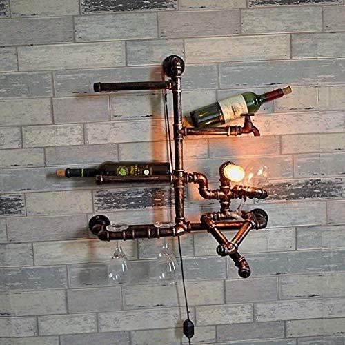 Titular Vintage Industrial Lámpara de pared Tubos de agua Rack Hierro Luz de pared Bronce Decoración de la cocina Linterna Linterna Inicio Estantería de vino Montado en la pared Iluminación E27 Edison
