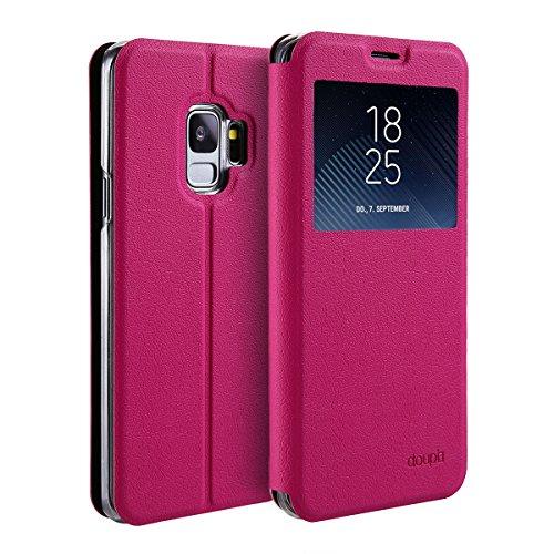 doupi FlipCase für Samsung Galaxy S9 Plus, Deluxe Schutzhülle mit Sichtfenster Magnet Verschluss Klappbar Book Style Aufstellbar Ständer, rot pink