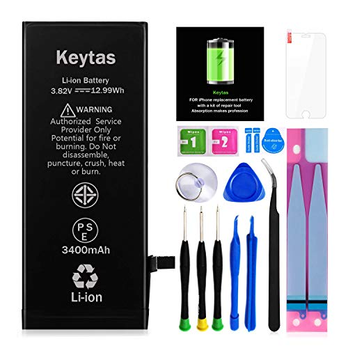 Keytas 3400mAh Replacement Battery Compatible with iPhone 7 Plus, for iPhone 7 Plus High Capacity Replacement Battery with Complete Tools Kit and Free Screen Protector, 2 Years Warranty