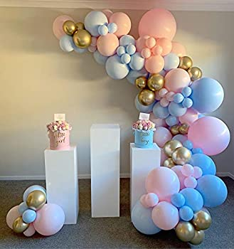 DIY 120PCS Gender Reveal Balloon Garland kits Chrome Metallic Latex Balloons 18/10/5inch Pearl Balloons for Birthday Party Celebration Wedding Gender Reveal He or She Boy or Girl  Pink Blue Orange Gold