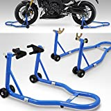 BITUXX® Motorradständer hinten & vorn Motorrad Montageständer Transportständer Blau Belastbar bis 250 kg pro Ständer