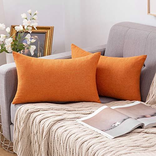 MIULEE Funda Cojines Fundas de Almohadas Lino de Imitación de Color Puro Duradero Decorativo para Sofá Cama Silla Habitacion Oficina Sofa Salón Dormitorio Lumbar 30x50cm 2 Piezas Naranja