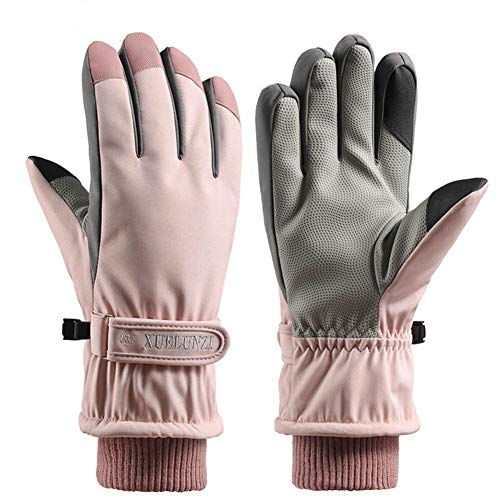 Guantes de Invierno con Pantalla táctil para Mujeres,XXL Protección contra el Viento,Guantes de Invierno con Protectores de muñeca (Rosa)