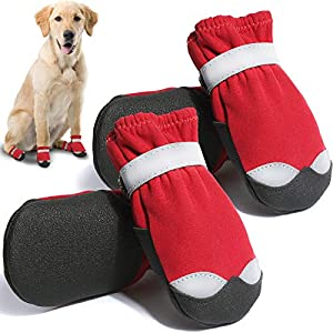 CALHNNA Dog Boots Waterproof Dog Shoes with Adjustable Reflective Straps Rugged Anti-Slip Sole Paw Protectors for Medium to Large Dogs 4PCS (Size 3: 1.8″ Width)