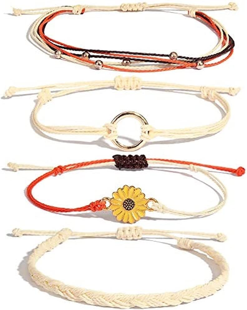 Tcplyn Sunflower String Bracelet Handmade Braided Rope Charms Surfer Bracelet for Teen Girls Women Useful Processed