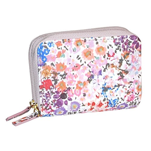Buxton Womens RFID Accordion Double Zippered Wizard Credit Card ID Holder Travel Wallet (Wild Flowers)